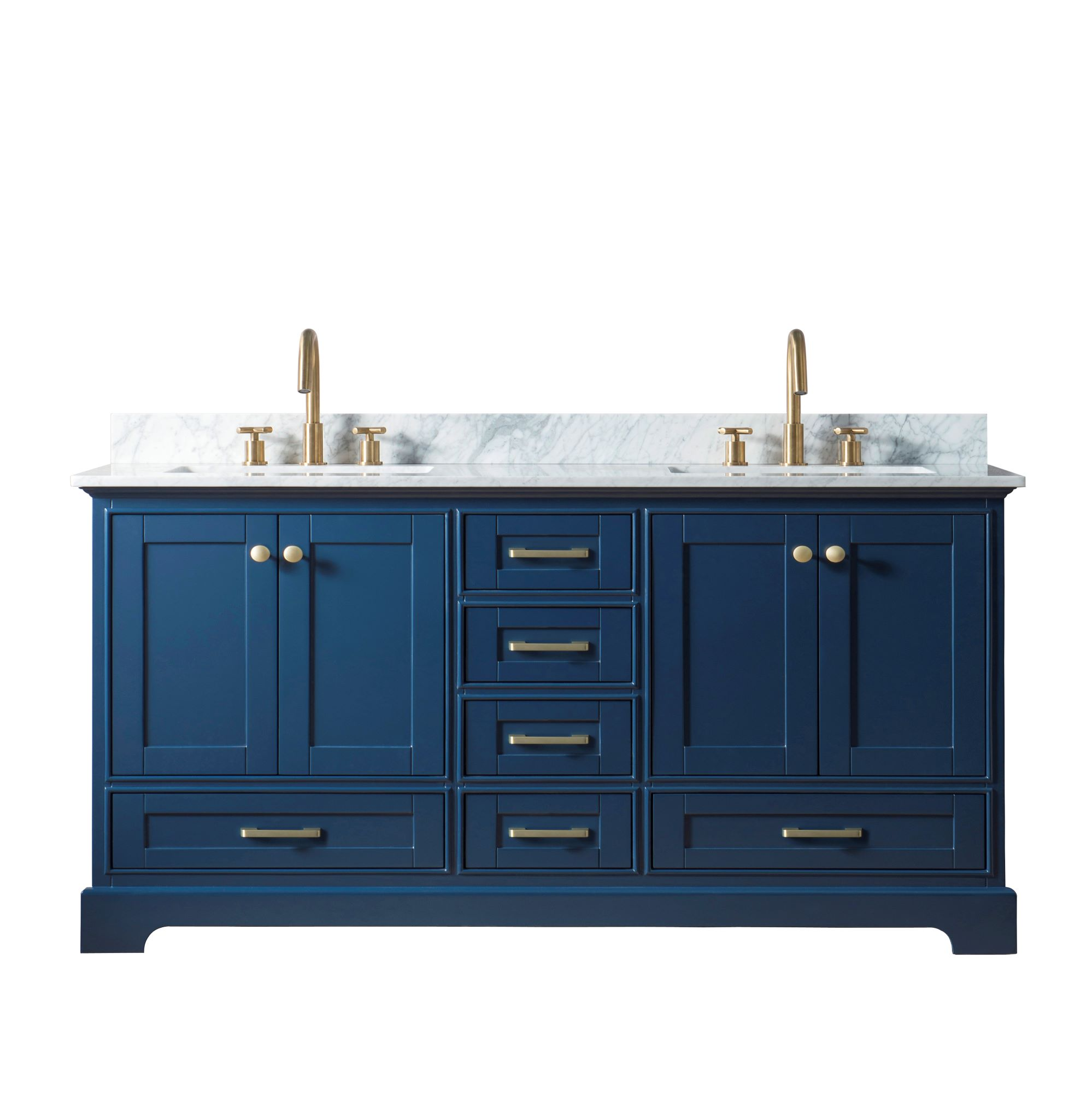 "72"" Double Sink Bathroom Vanity in Blue Finish with Carrara White Marble Top"