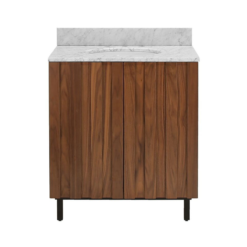 "30.5"" Isaac Edwards Collection Ashwood Vanity with White Carrara Marble Top & Black Base"