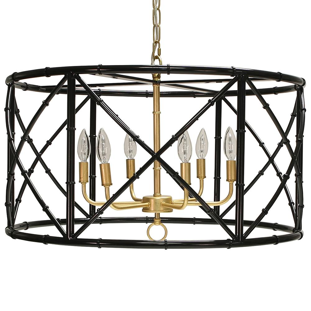 Six Light Bamboo Chandelier with 5 Finish Option