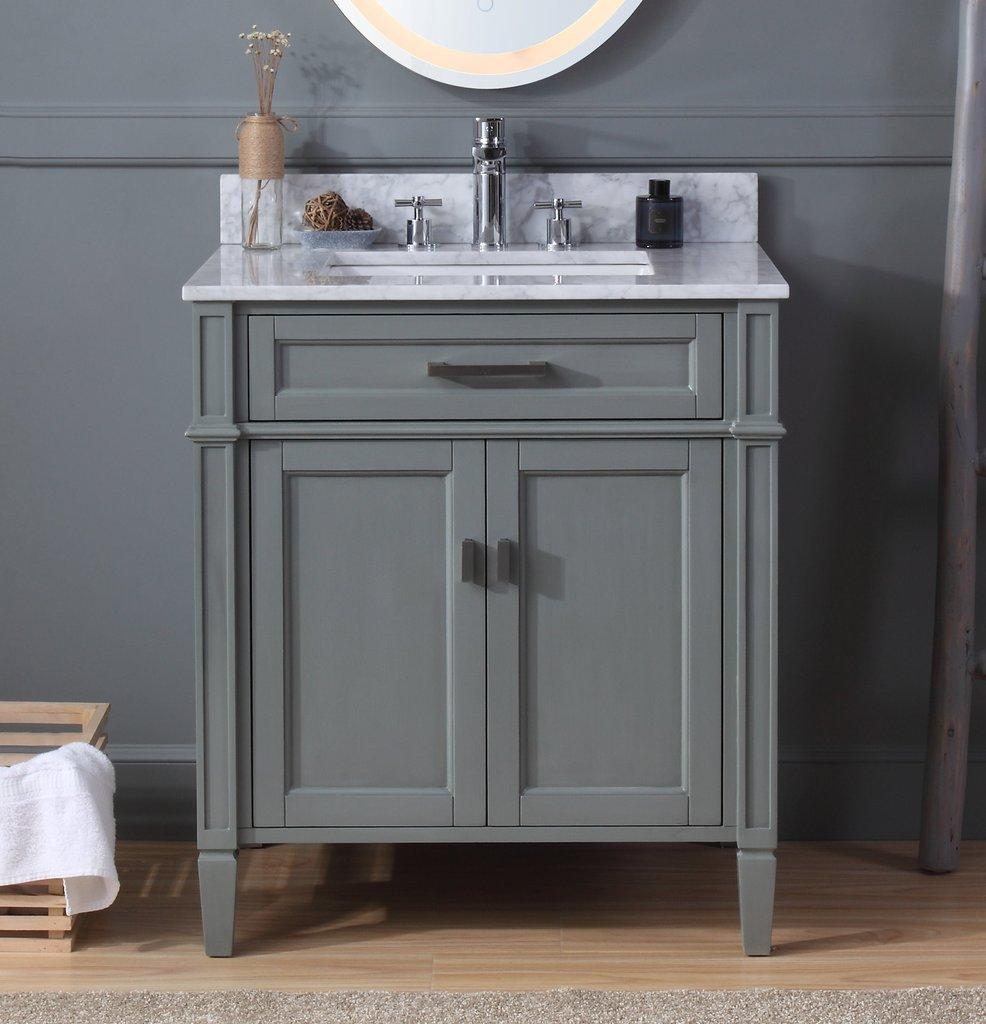 "Modern 30""  Bathroom Sink Vanity with Backsplash and Color Options"