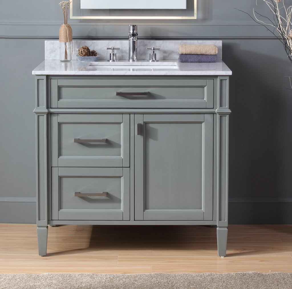 "Modern 36"" Bathroom Sink Vanity with Backsplash and Color Options"