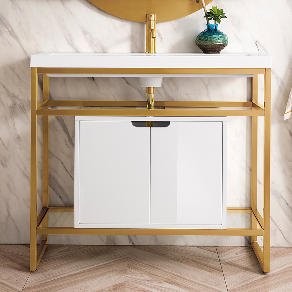 "James Martin Boston Collection 39.5"" Stainless Steel Sink Console, Radiant Gold"