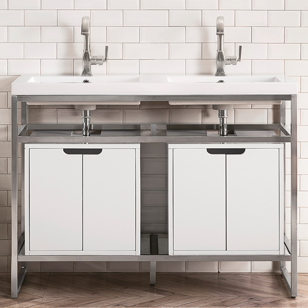 "James Martin Boston Collection 47"" Stainless Steel Sink Console (Double Basins), Brushed Nickel"