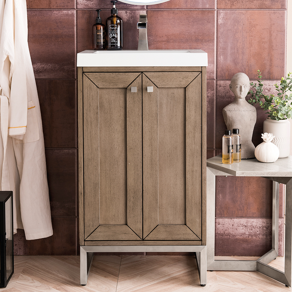 "James Martin Chianti Collection 20"" Single Vanity Cabinet, Whitewashed Walnut"