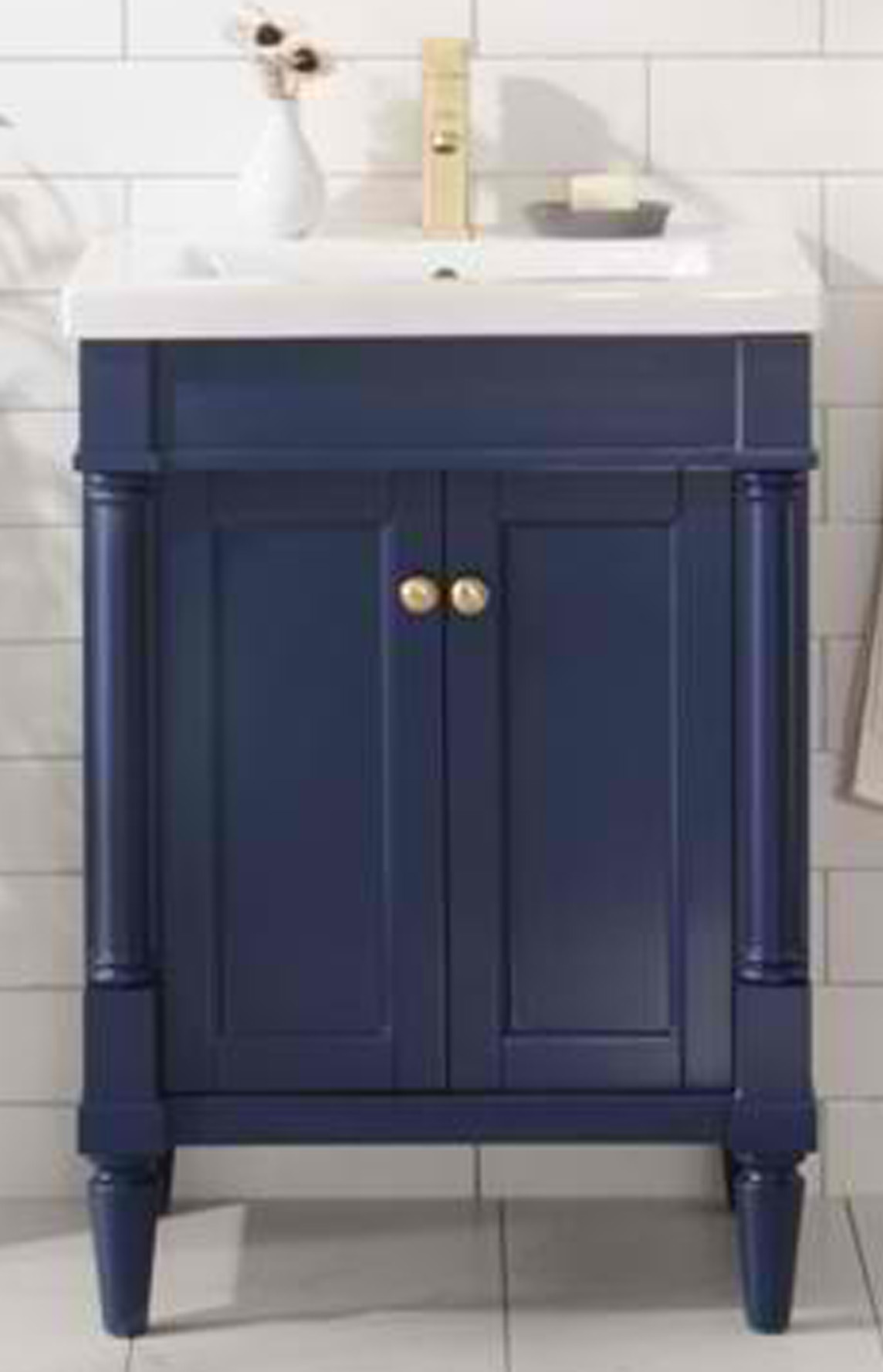 "24"" Single Sink Bathroom Vanity Blue Finish in Ceramic Top and White Ceramic Sink with Color Options"