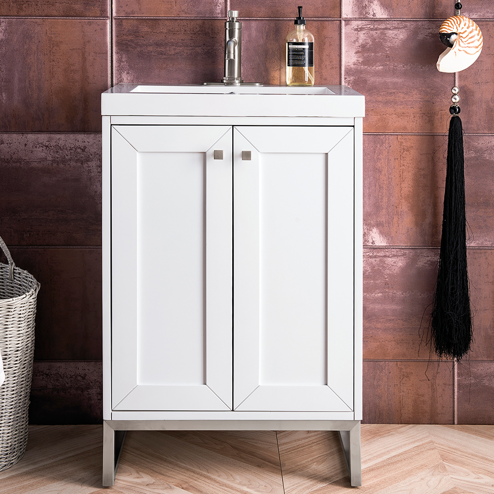"""James Martin Chianti Collection 24"""" Single Vanity Cabinet, Glossy White"""