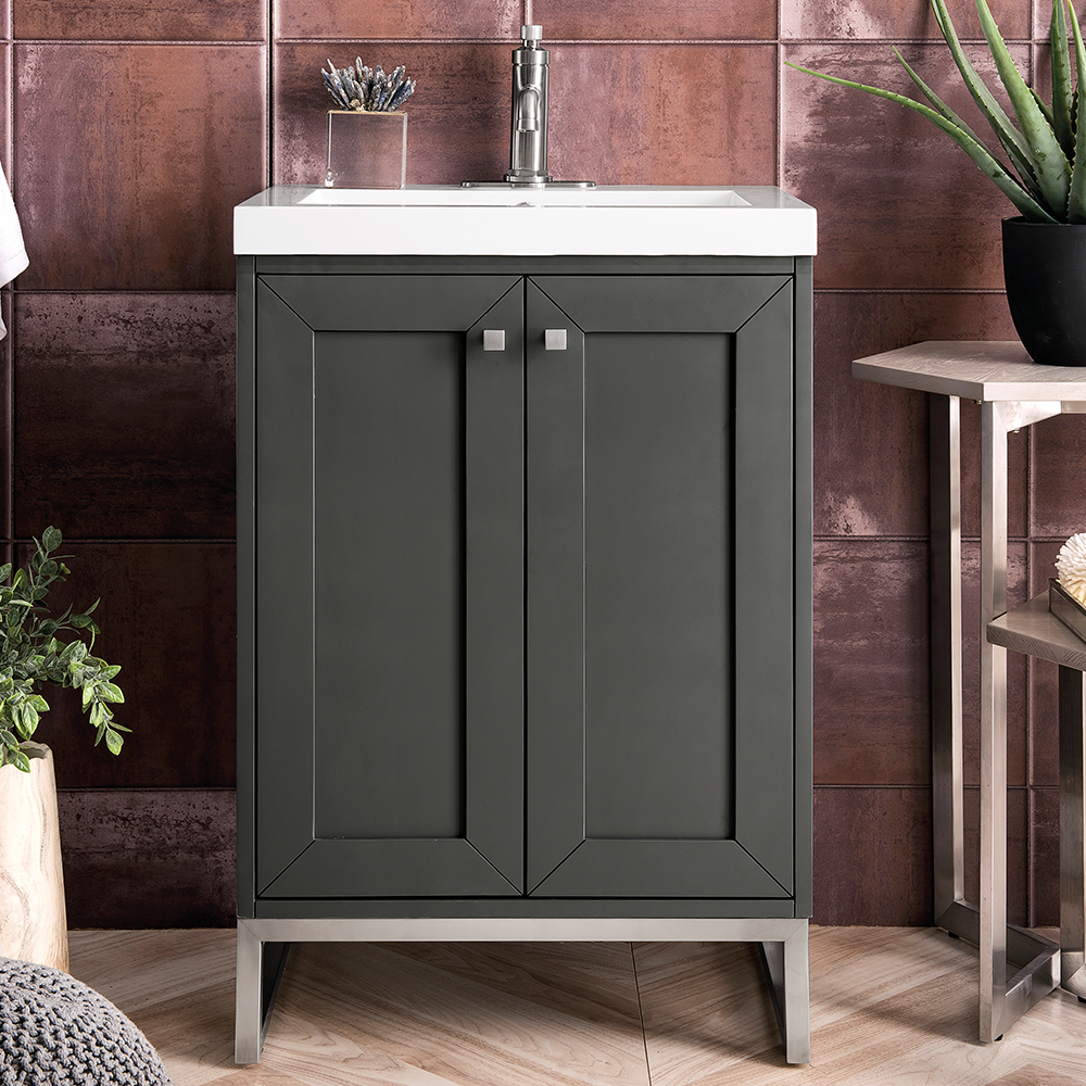 "James Martin Chianti Collection 24"" Single Vanity Cabinet, Mineral Grey"