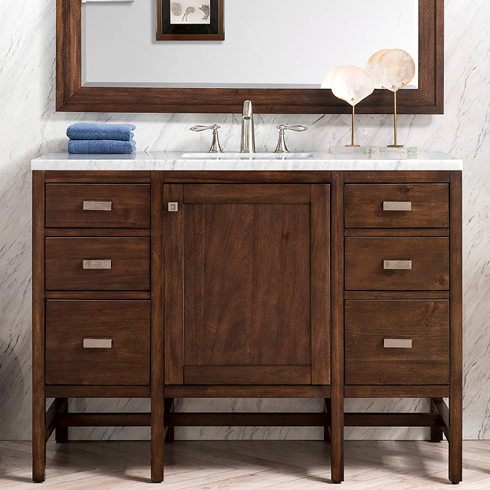 "James Martin Addison Collection 48"" Single Vanity Cabinet, Mid Century Acacia"