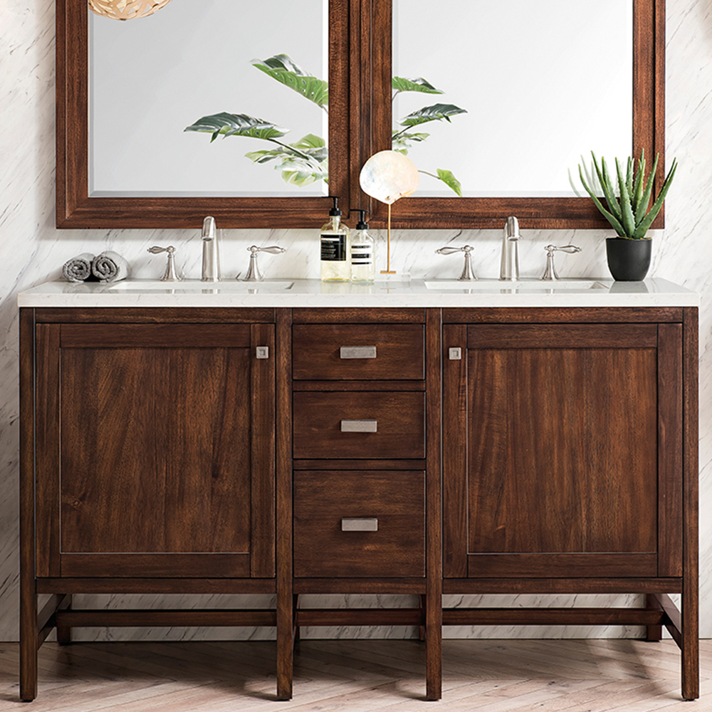 "James Martin Addison Collection 60"" Double Vanity Cabinet, Mid Century Acacia"