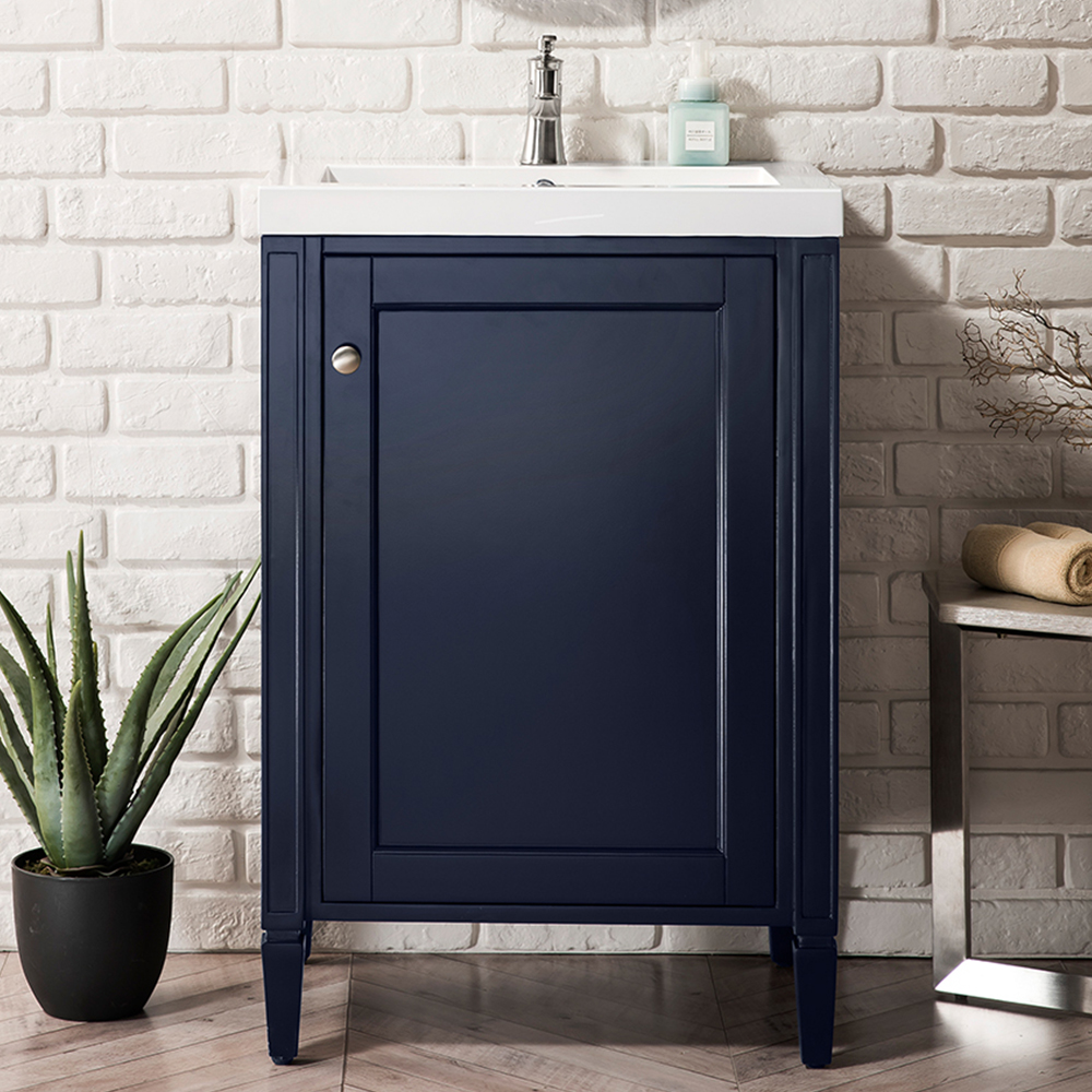 "James Martin Brittania Collection 24"" Single Vanity Cabinet, Navy Blue w/ White Glossy Resin Countertop"