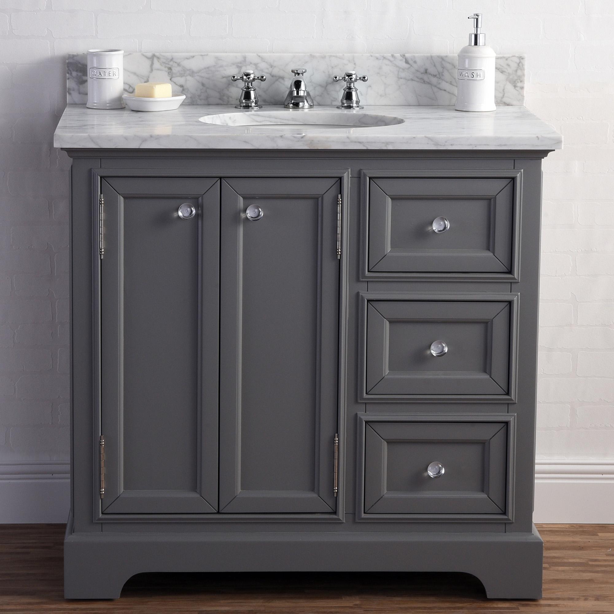 "36"" Wide Cashmere Grey Single Sink Carrara Marble Bathroom Vanity"