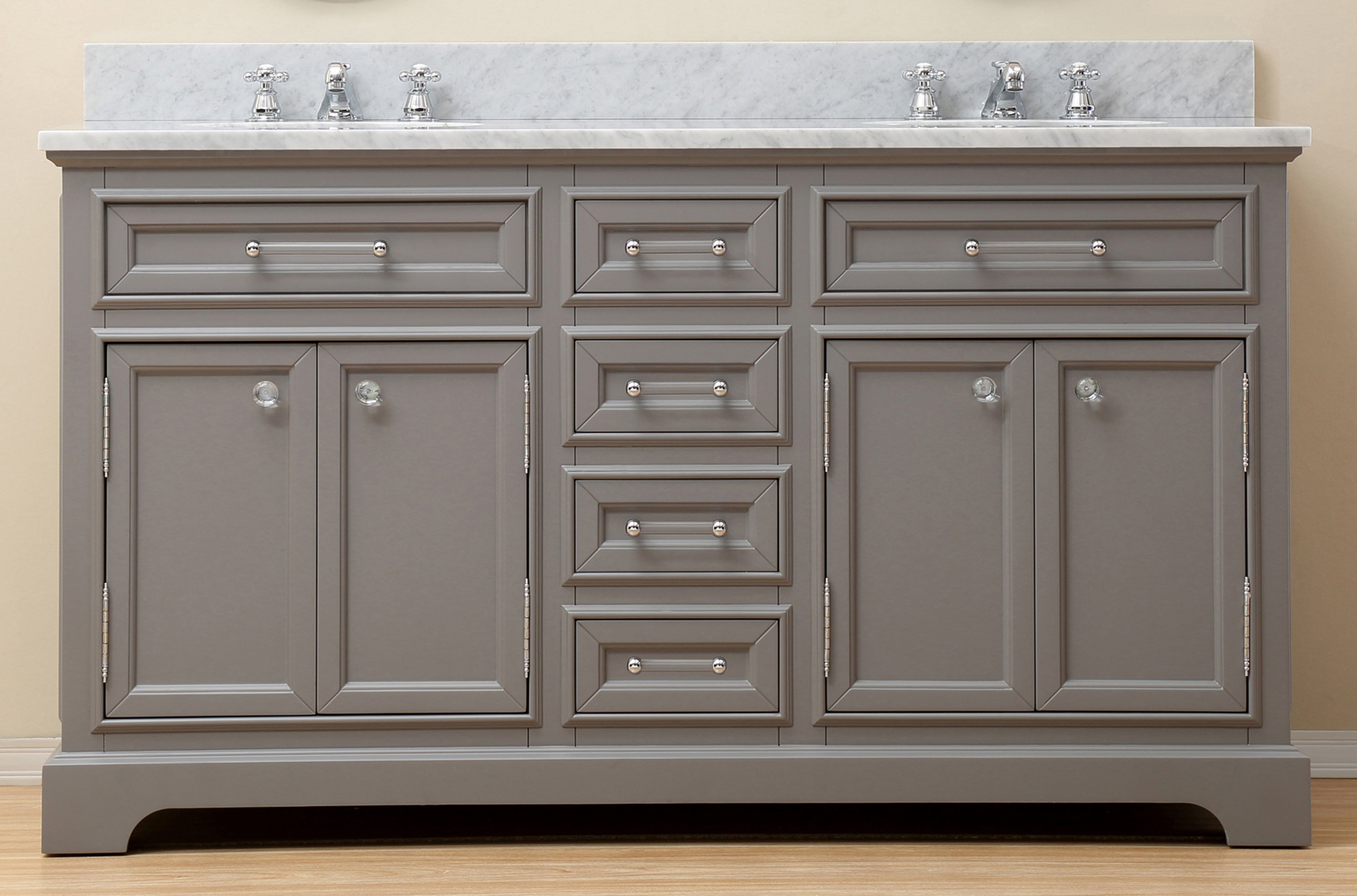 "60"" Cashmere Grey Double Sink Bathroom Vanity with Carrara White Marble Top"