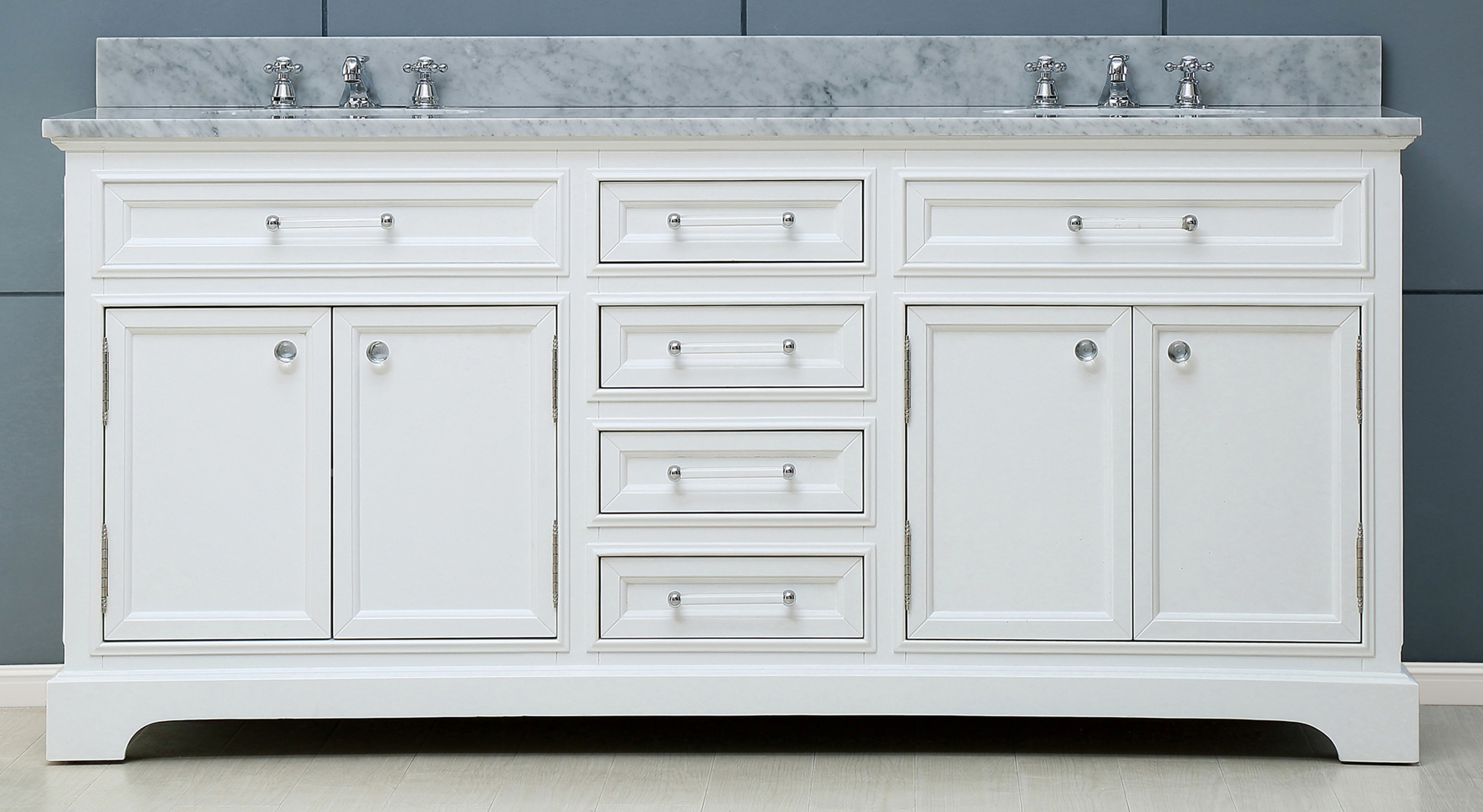 "60"" Pure White Double Sink Bathroom Vanity with Carrara White Marble Top"
