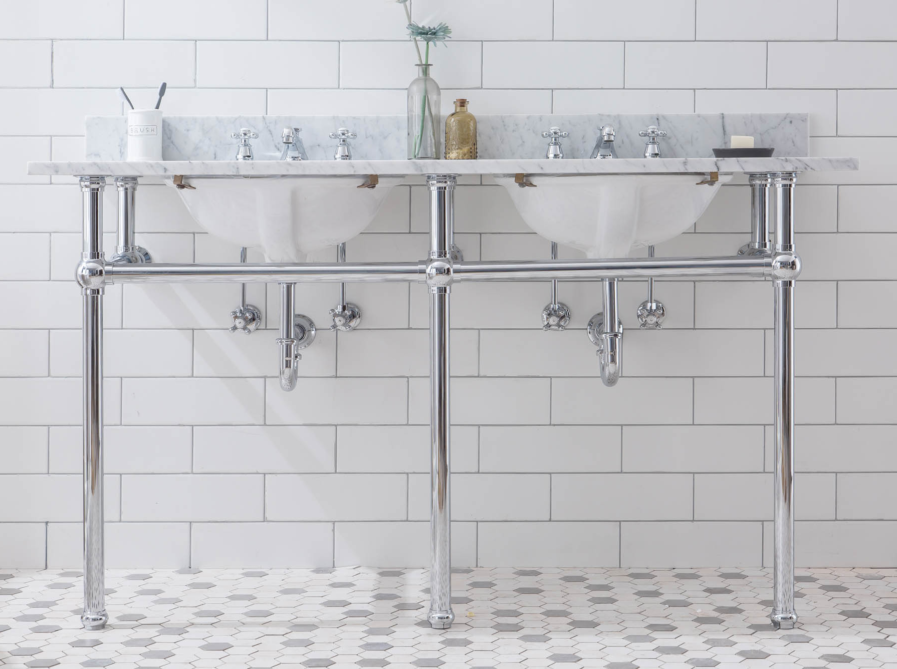 "60"" Wide Double Wash Stand Only in Chrome Finish"