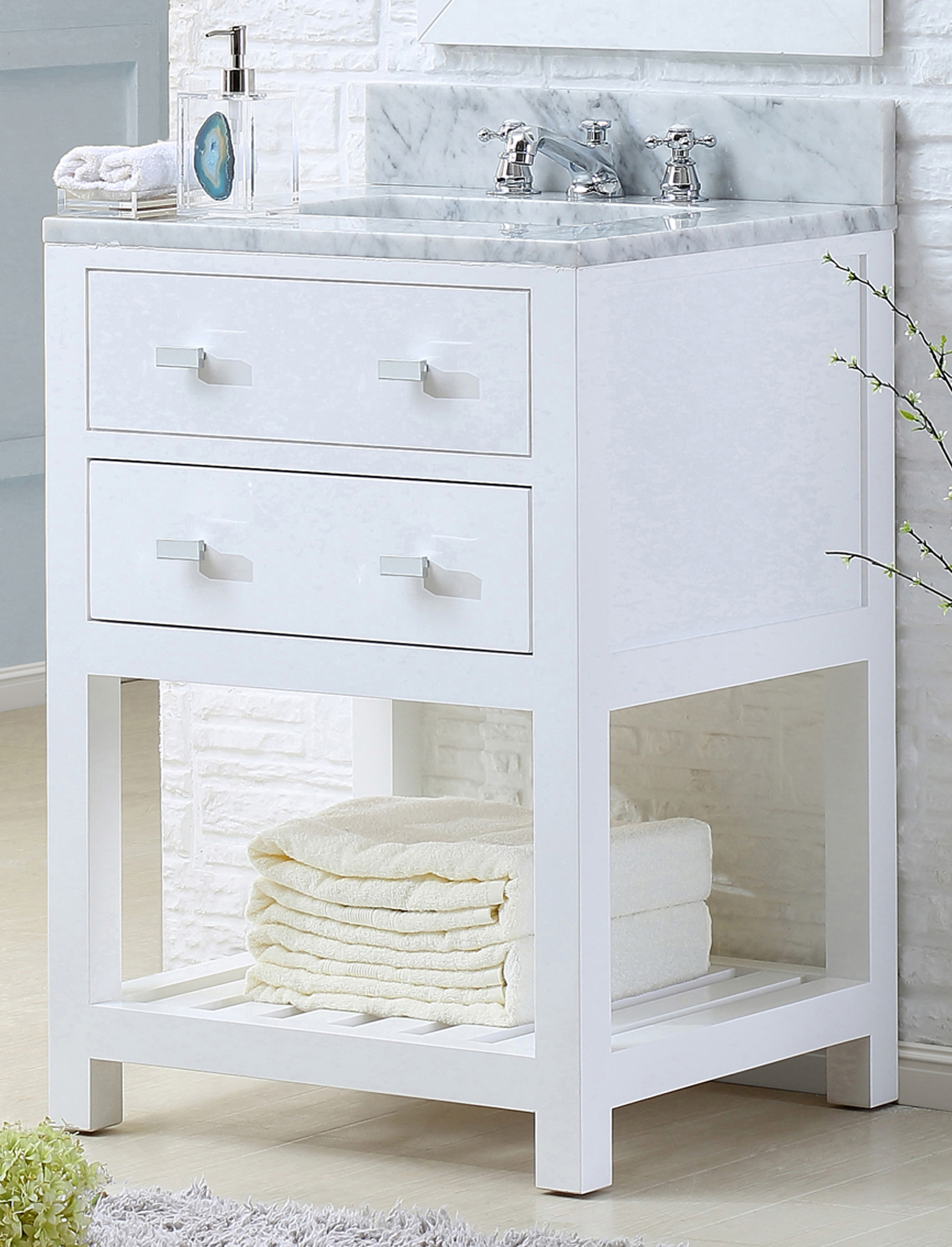 "24"" Pure White Single Sink Bathroom Vanity"