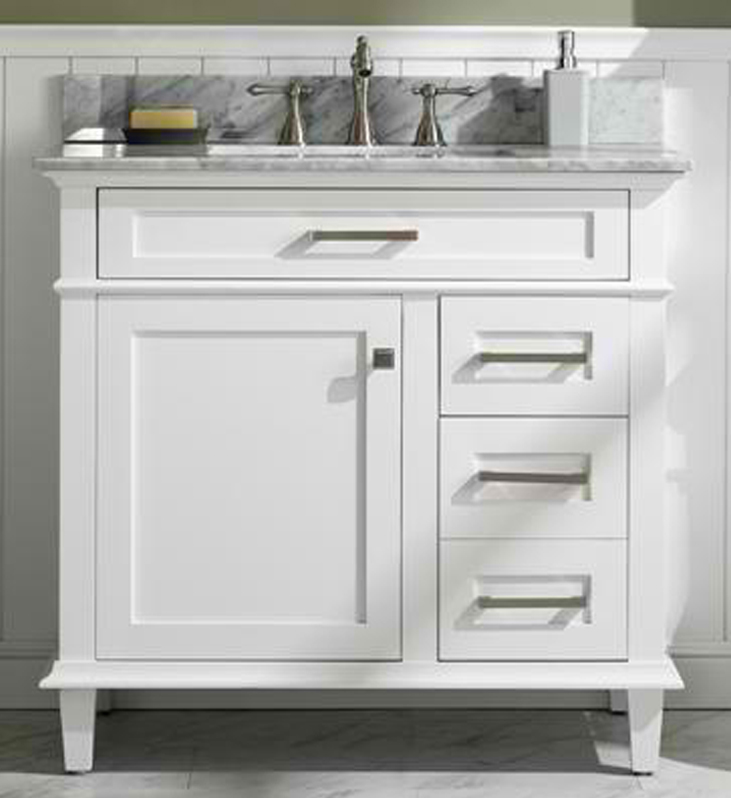 "36"" Single Sink Vanity Cabinet with Carrara White Top and Color Options"