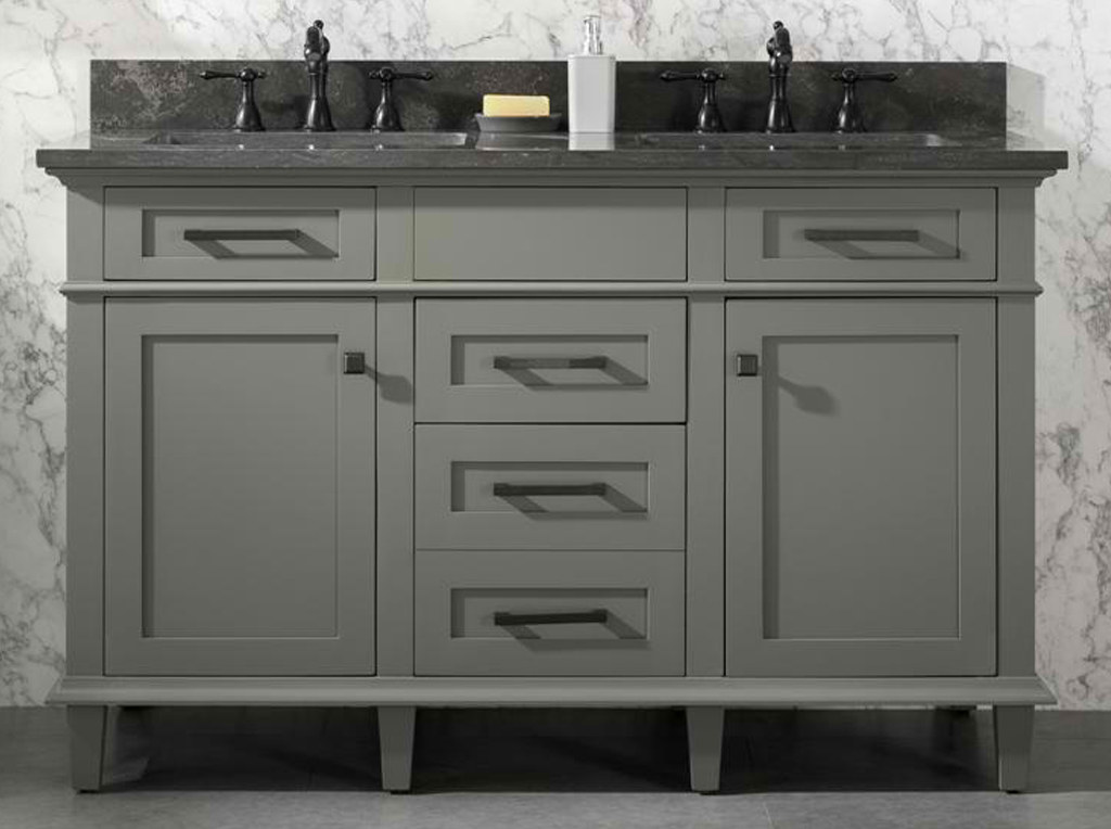 "54"" Double Sink Vanity Cabinet Pewter Green Finish with Blue Limestone Top"
