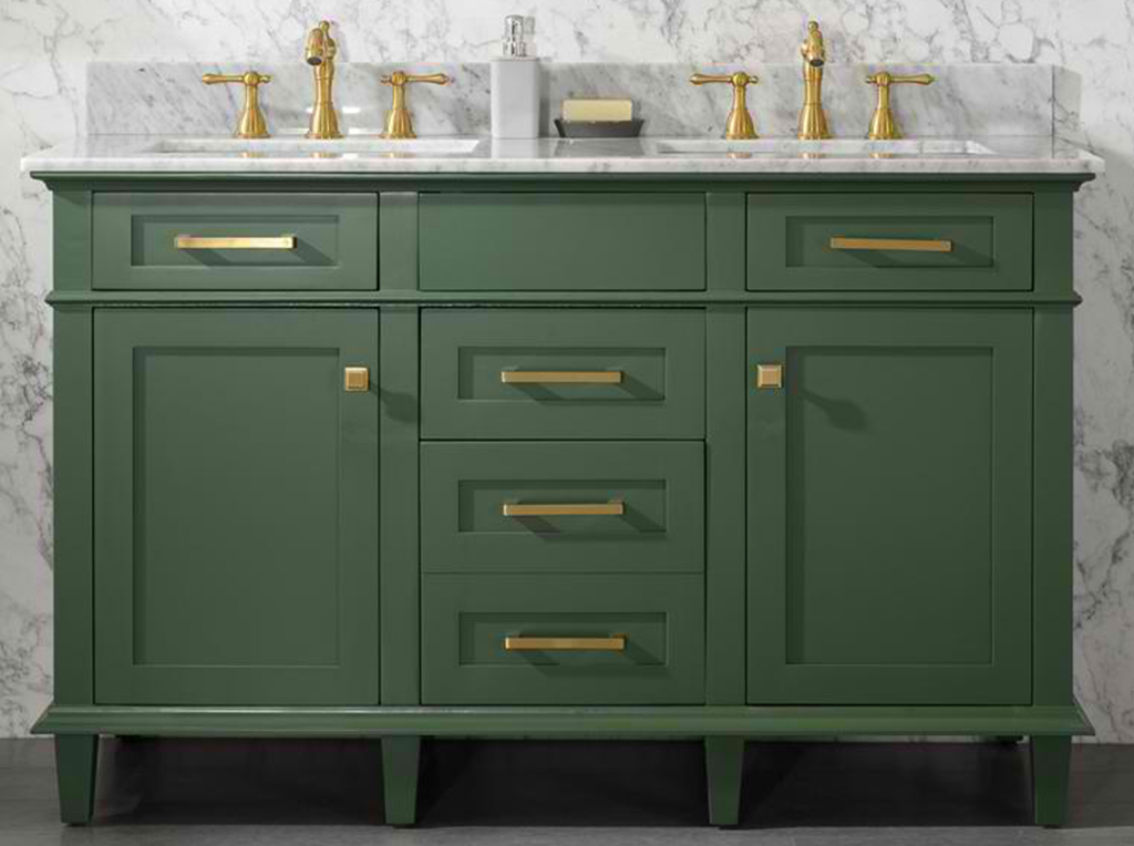 "54"" Double Sink Vanity Cabinet Vogue Green Finish with Carrara White Top"