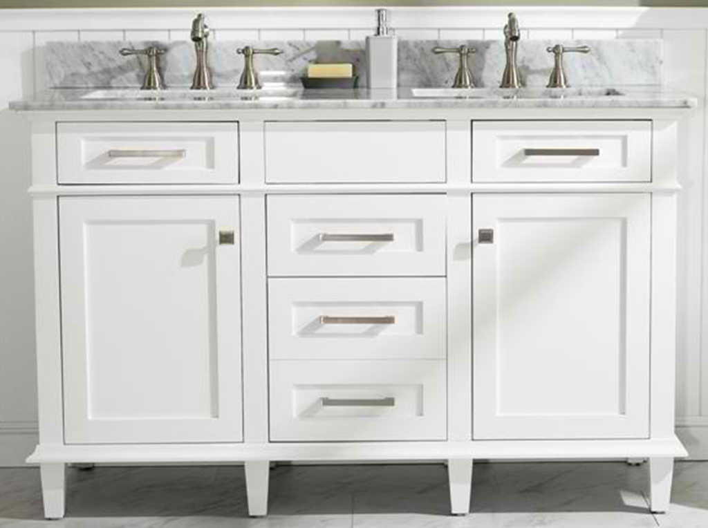 "54"" Double Sink Vanity Cabinet White Finish with Carrara White Top"