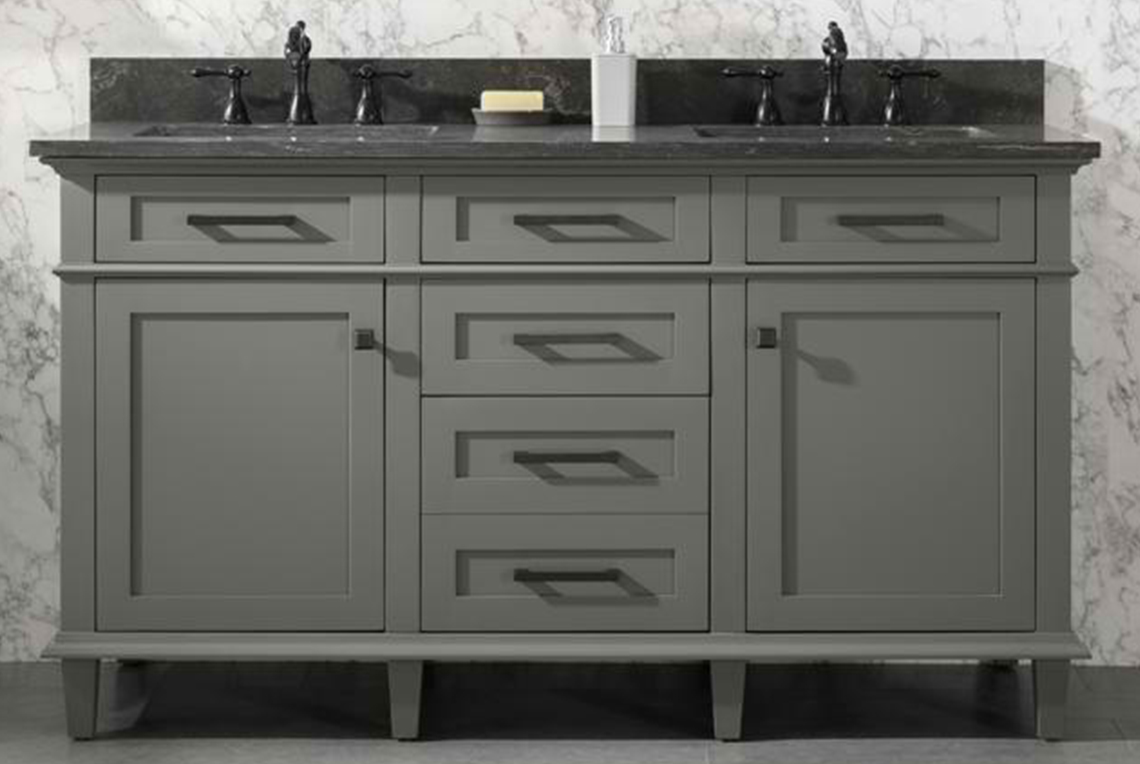 "60"" Double Sink Vanity Cabinet Pewter Green Finish with Blue Limestone Top"