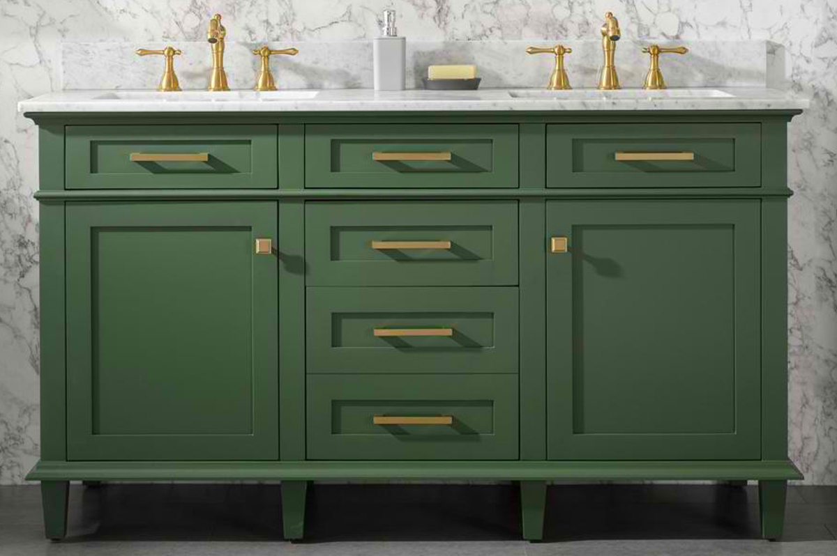 "60"" Double Sink Vanity Cabinet Vogue Green Finish with Carrara White Top"