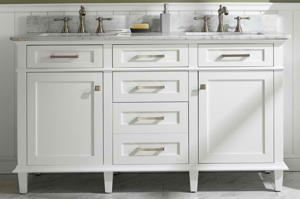 "60"" Double Sink Vanity Cabinet White Finish with Carrara White Top"