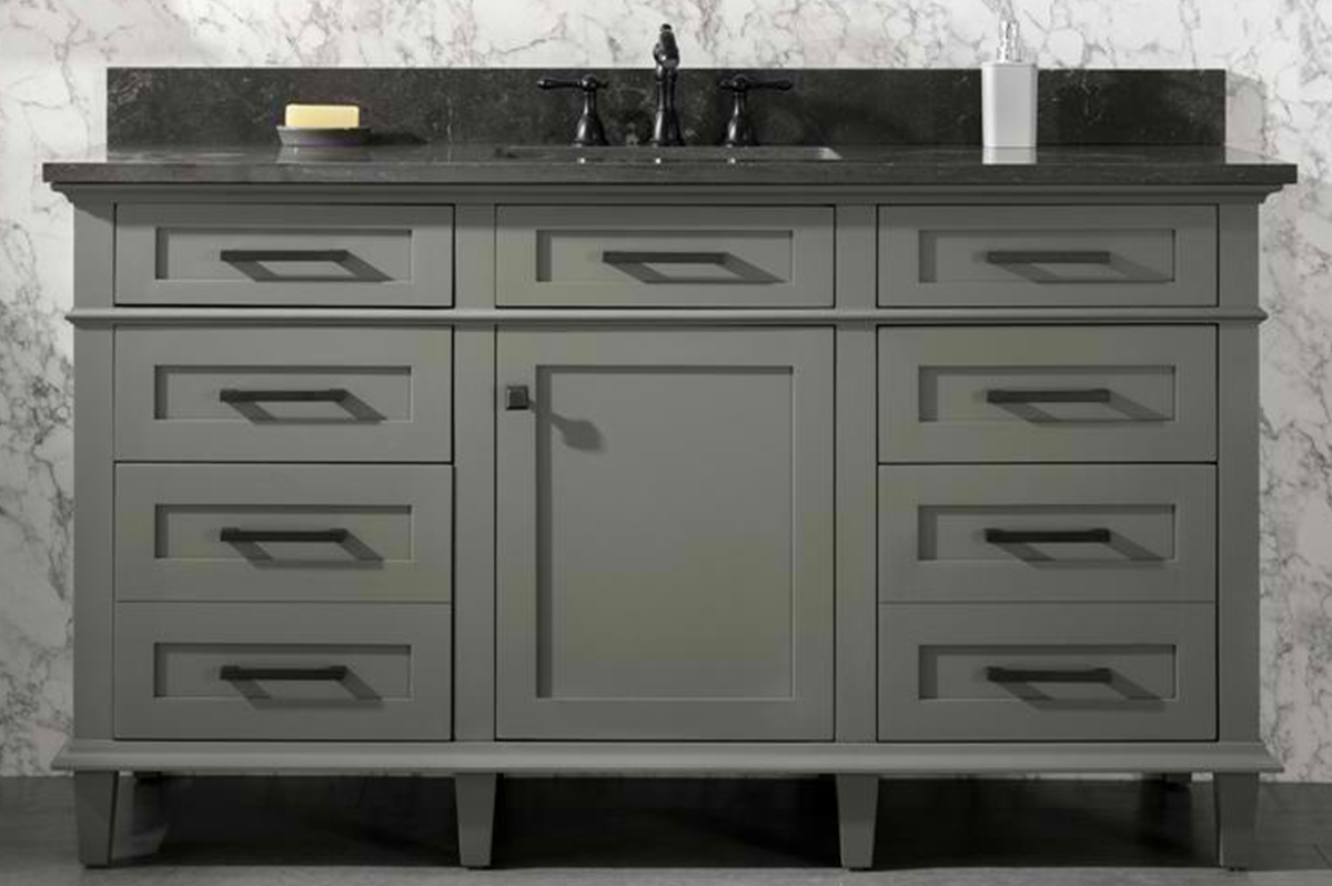 "60"" Single Sink Vanity Cabinet Pewter Green Finish with Blue Limestone Top"