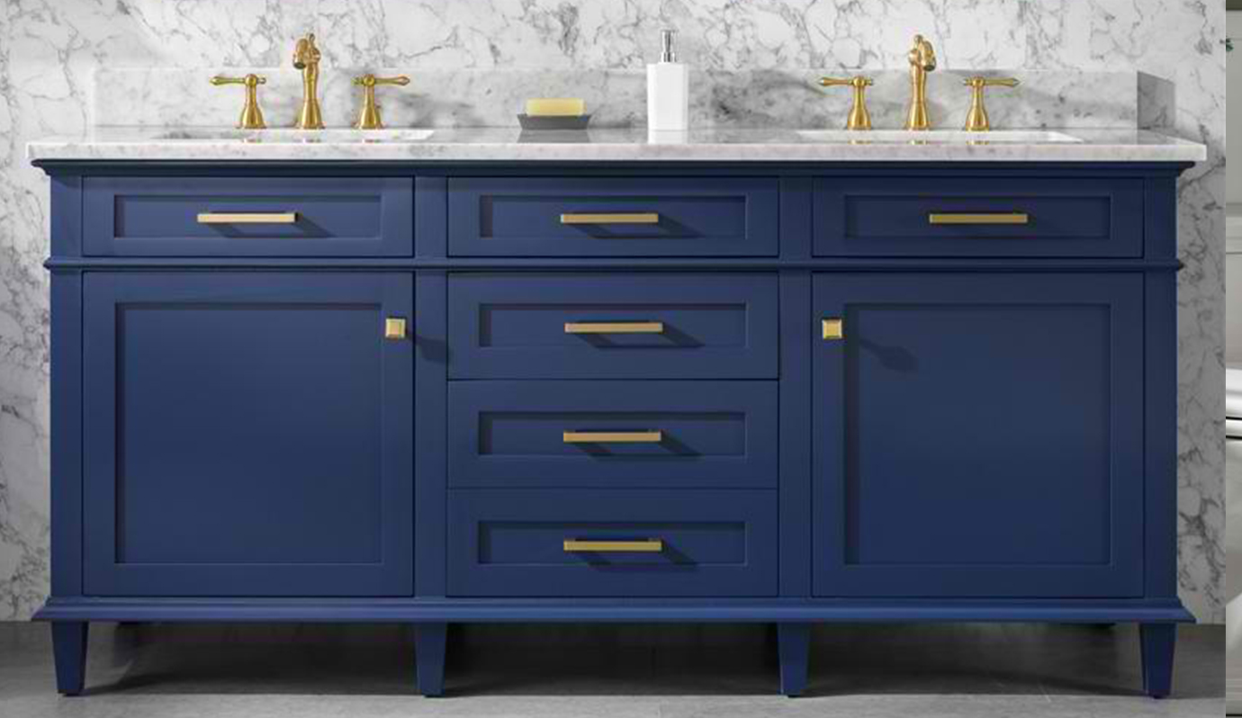 "72"" Double Sink Vanity Cabinet Blue Finish with Carrara White Top"