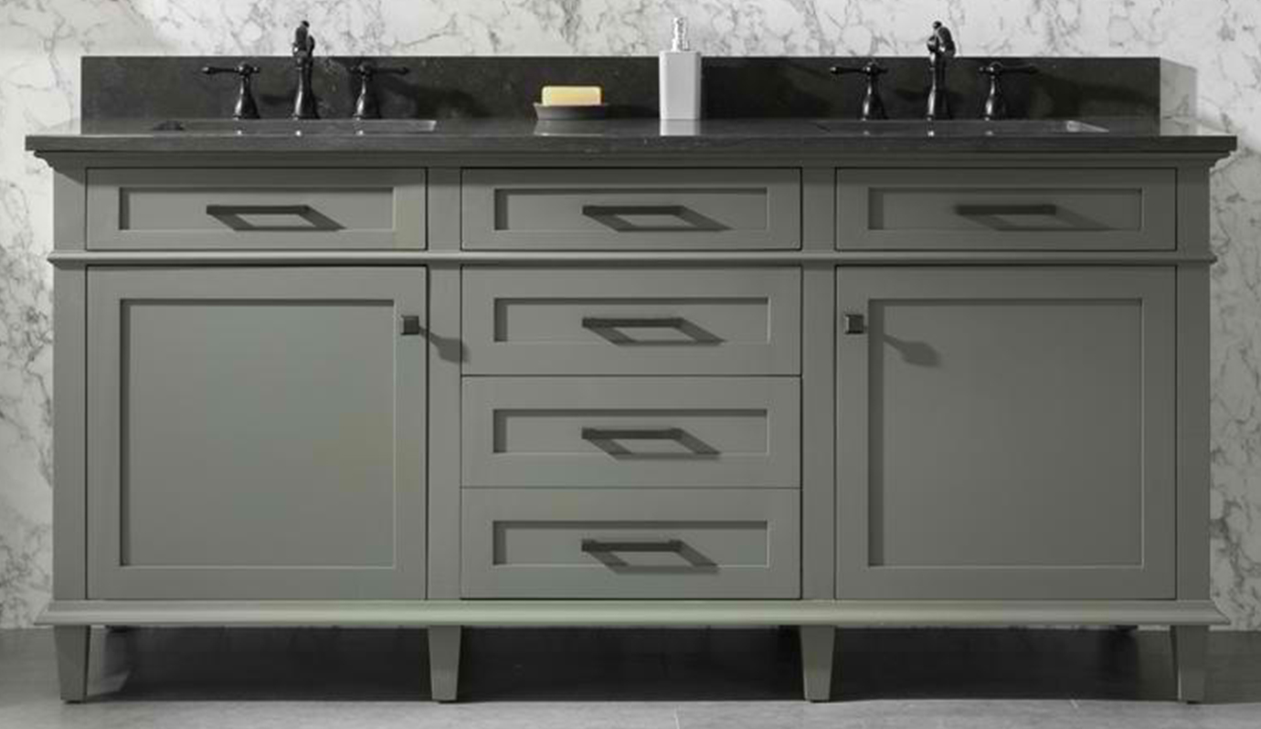 "72"" Double Sink Vanity Cabinet Pewter Green Finish with Blue LimestoneTop"