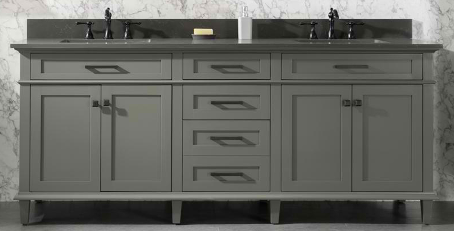 "80"" Pewter Green Double Sink Vanity Cabinet with Carrara White Quartz Top"