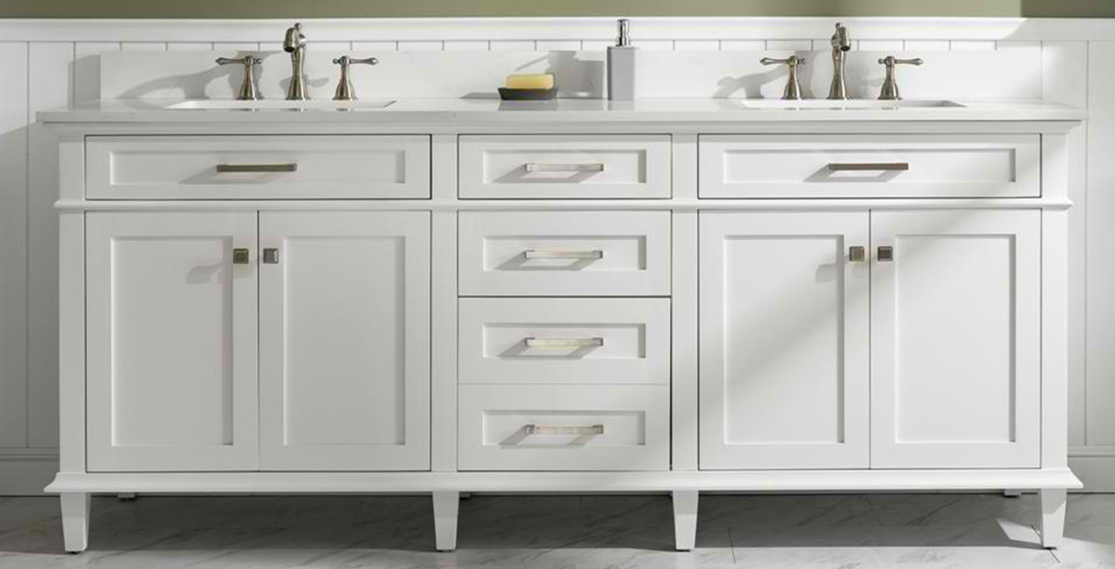 "80"" White Double Sink Vanity Cabinet with Carrara White Quartz Top"