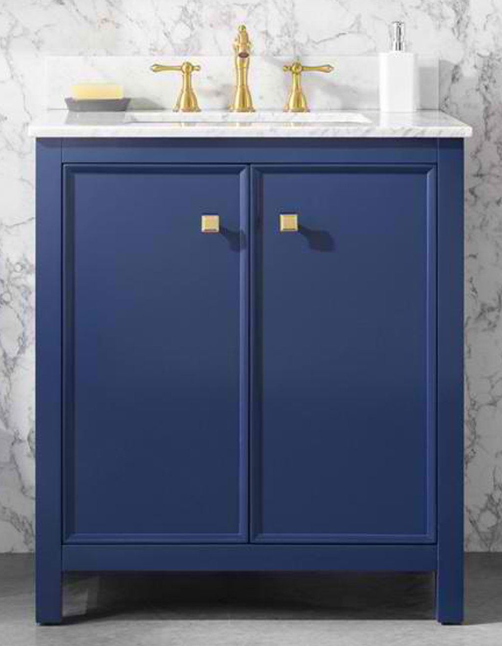 "30"" Blue Finish Sink Vanity Cabinet with Carrara White Top and Color Options"