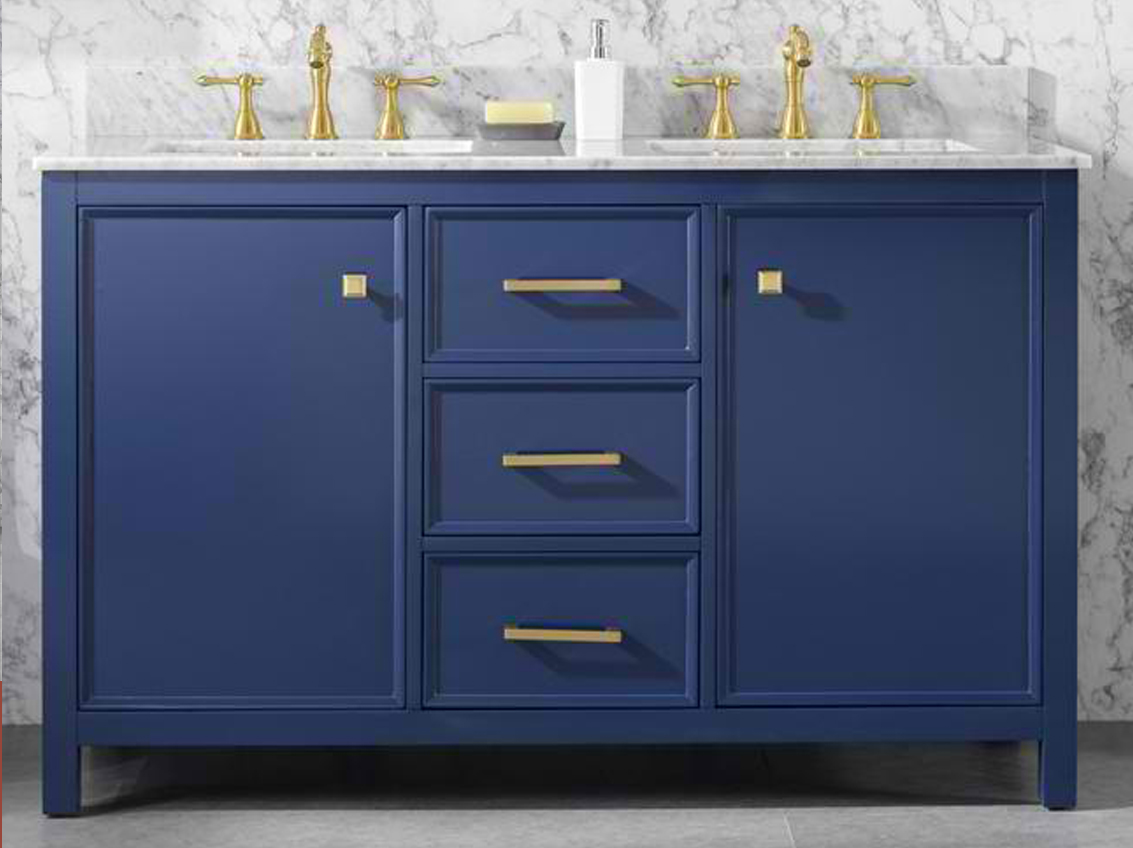 "54"" Blue Finish Double Sink Vanity Cabinet with Carrara White Top"