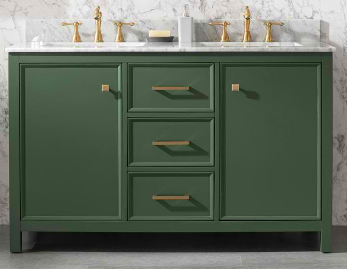 "54"" Vogue Green Finish Double Sink Vanity Cabinet with Blue Lime Stone Top"