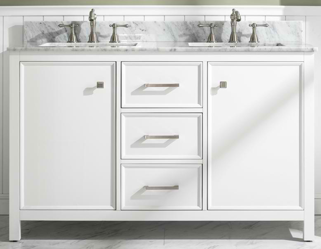 "54"" White Finish Double Sink Vanity Cabinet with Carrara White Top"