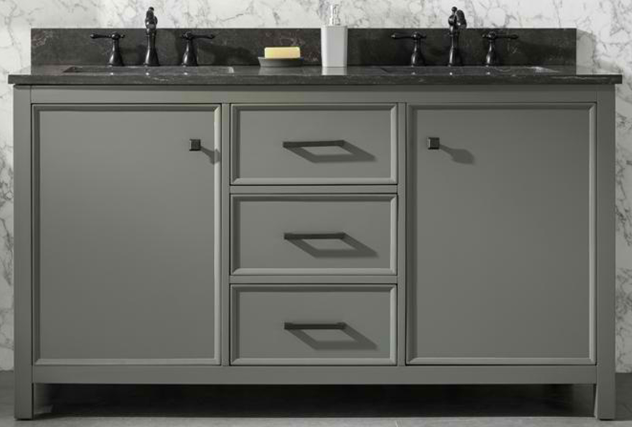 "60"" Pewter Green Finish Double Sink Vanity Cabinet with Blue Lime Stone Top"