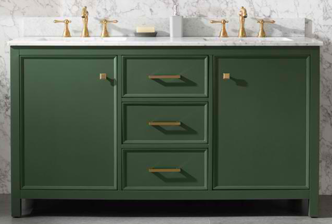 "60"" Vogue Green Finish Double Sink Vanity Cabinet with Carrara White Top"