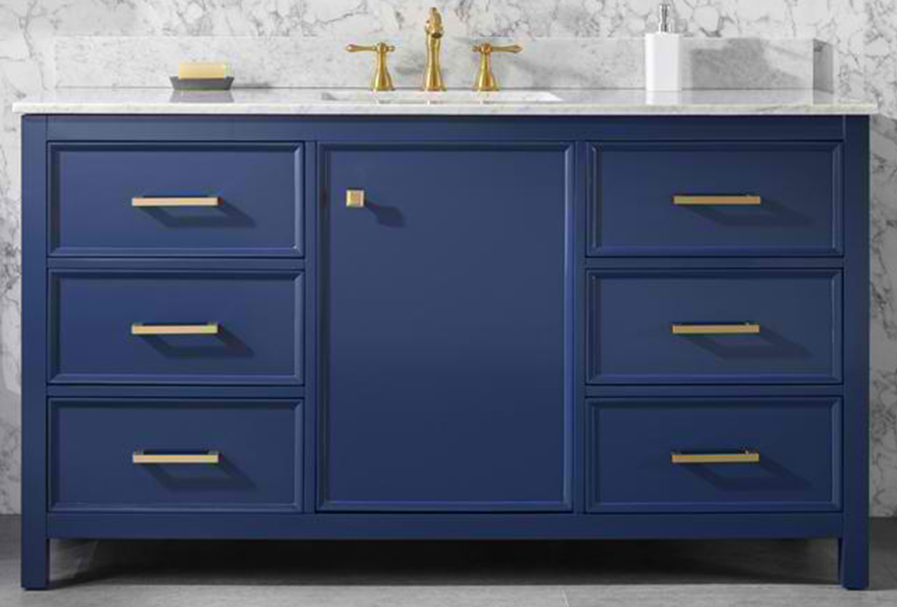 "60"" Blue Finish Single Sink Vanity Cabinet with Carrara White Top"