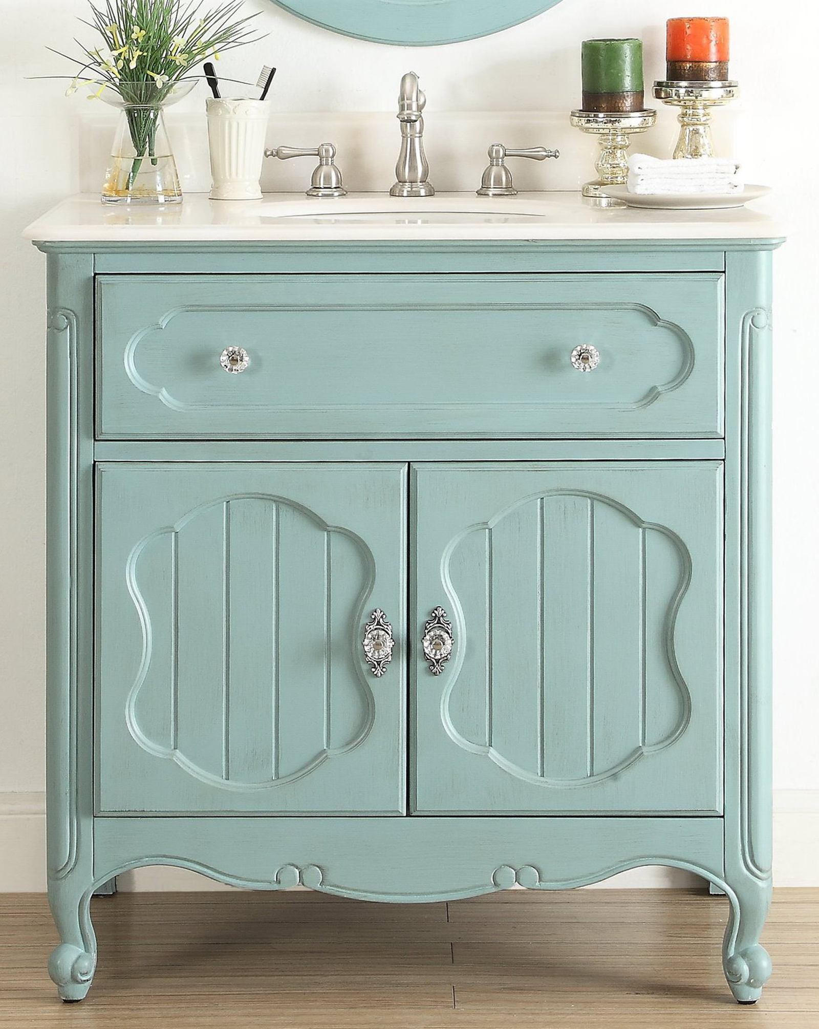 "34"" Single Sink Victorian Cottage Style Bathroom Vanity Vintage Blue Finish with White Marble Counter Top"