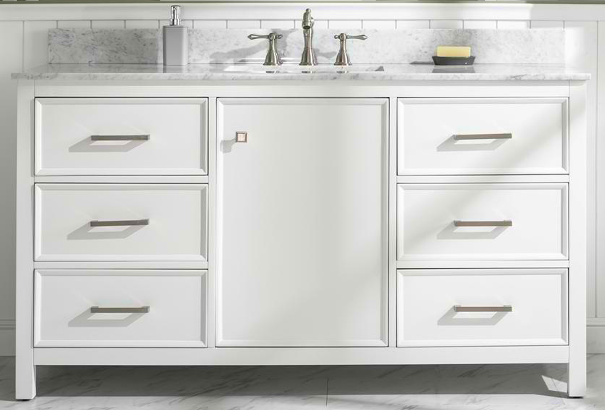 "60"" White Finish Single Sink Vanity Cabinet with Carrara White Top"