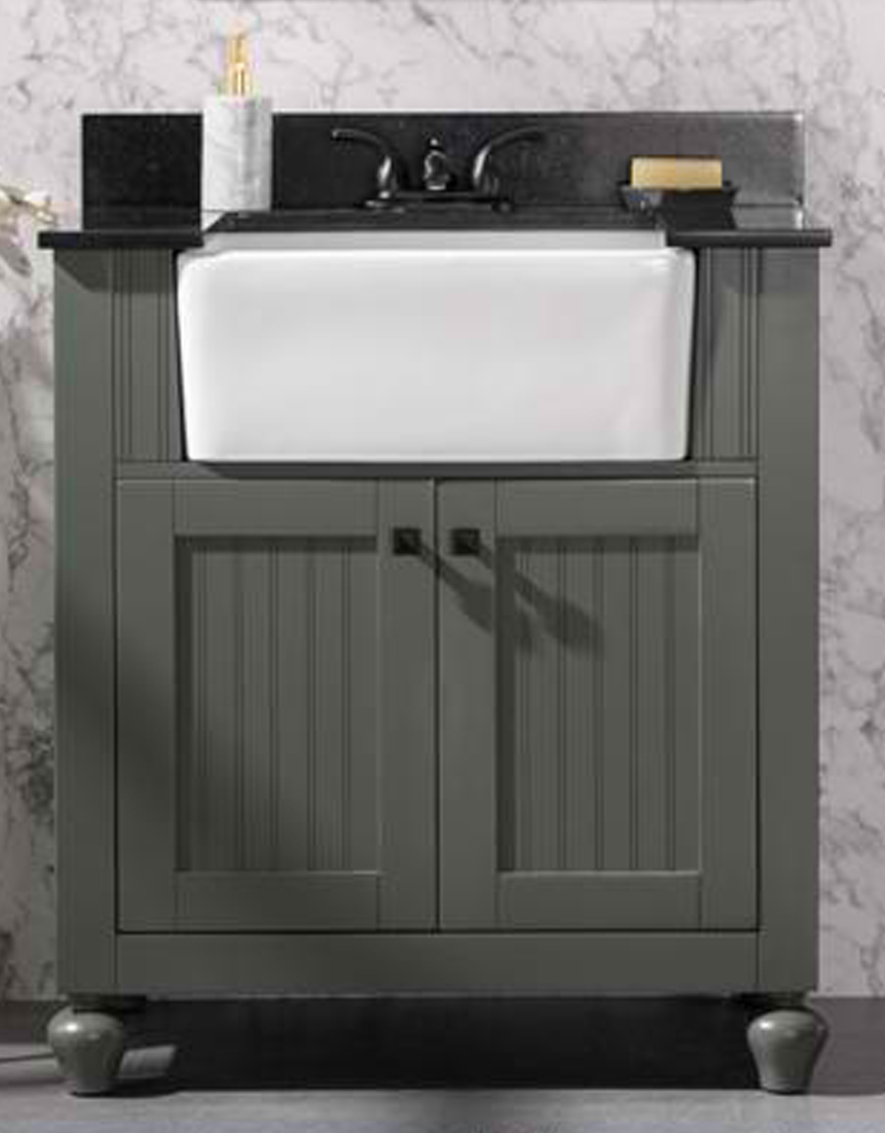 "30"" Pewter Green Finish Single Sink Vanity Cabinet with Black Granite Top"
