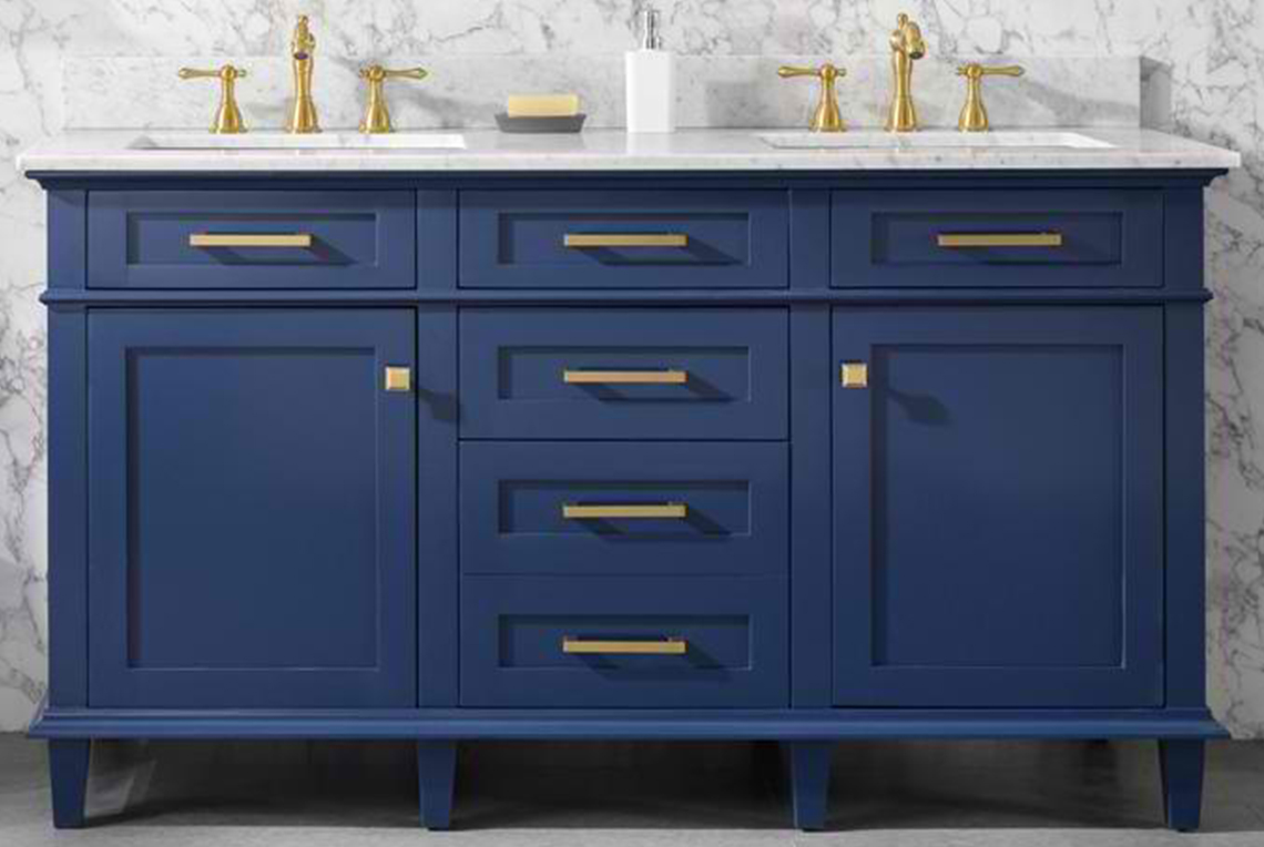 "60"" Double Sink Vanity Cabinet Blue Finish with Carrara White Top"