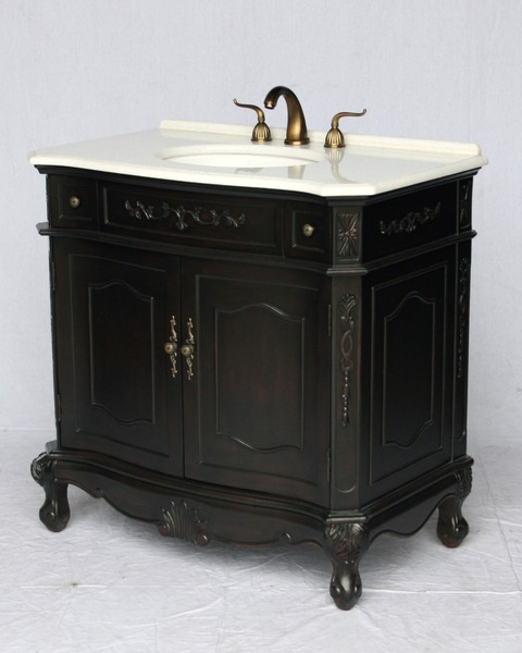 "36"" Adelina Antique Style Single Sink Bathroom Vanity in Espresso Finish with Crystal White Stone Countertop"
