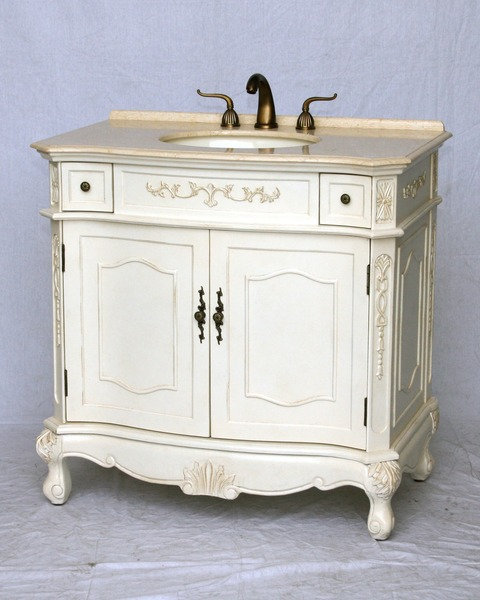 "36"" Adelina Antique Style Single Sink Bathroom Vanity in Antique White Finish with Beige Stone Countertop"