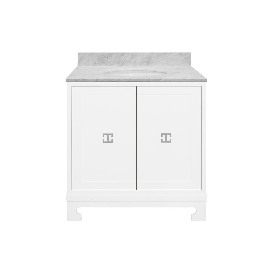 "30.5"" Isaac Edwards Collection White Lacquer Bath Vanity, White Carrara Marble Top with Hardware and Backsplash Option"