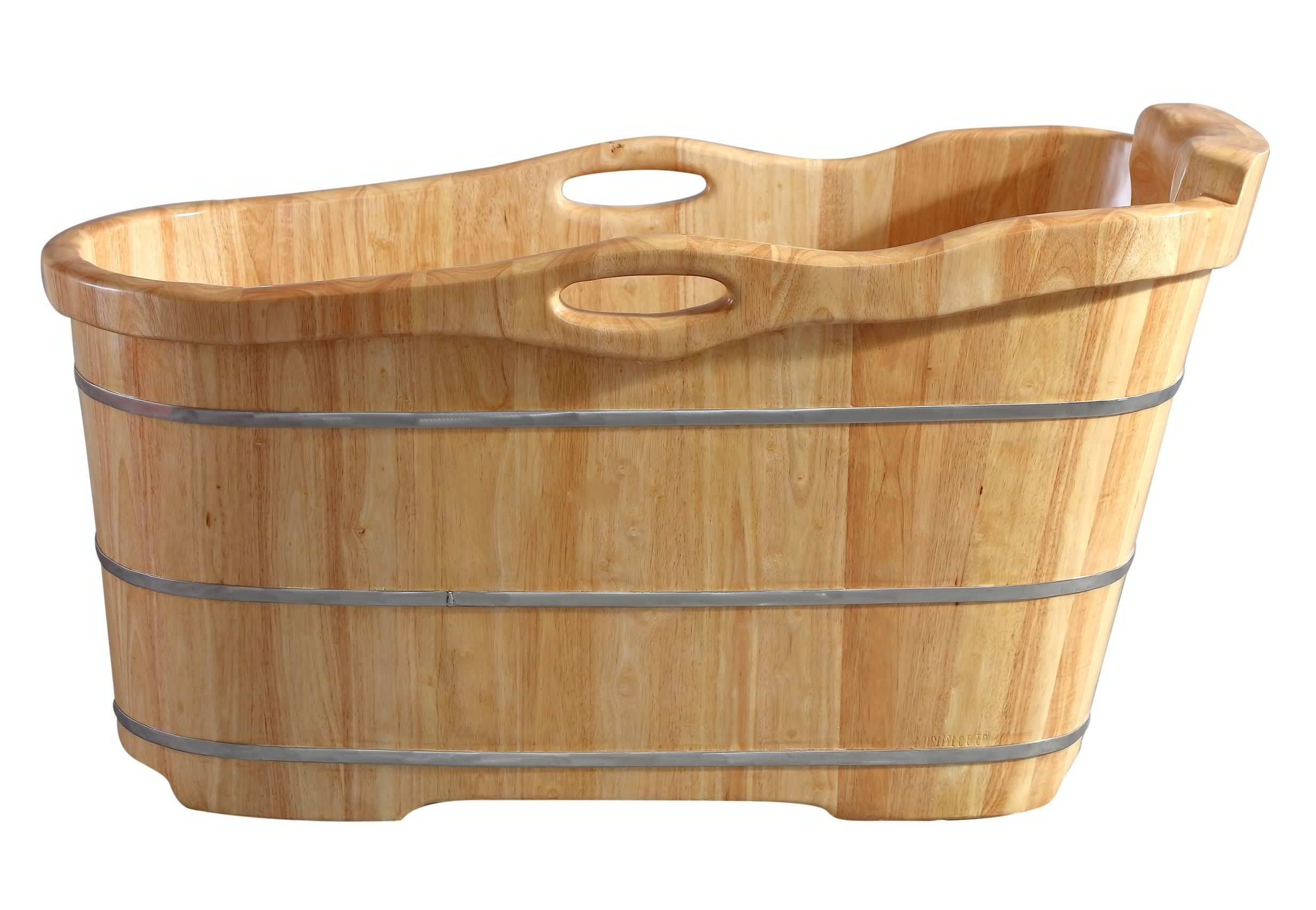 "ALFI Brand AB1187 57"" Free Standing Rubber Wooden Soaking Bathtub with Headrest"