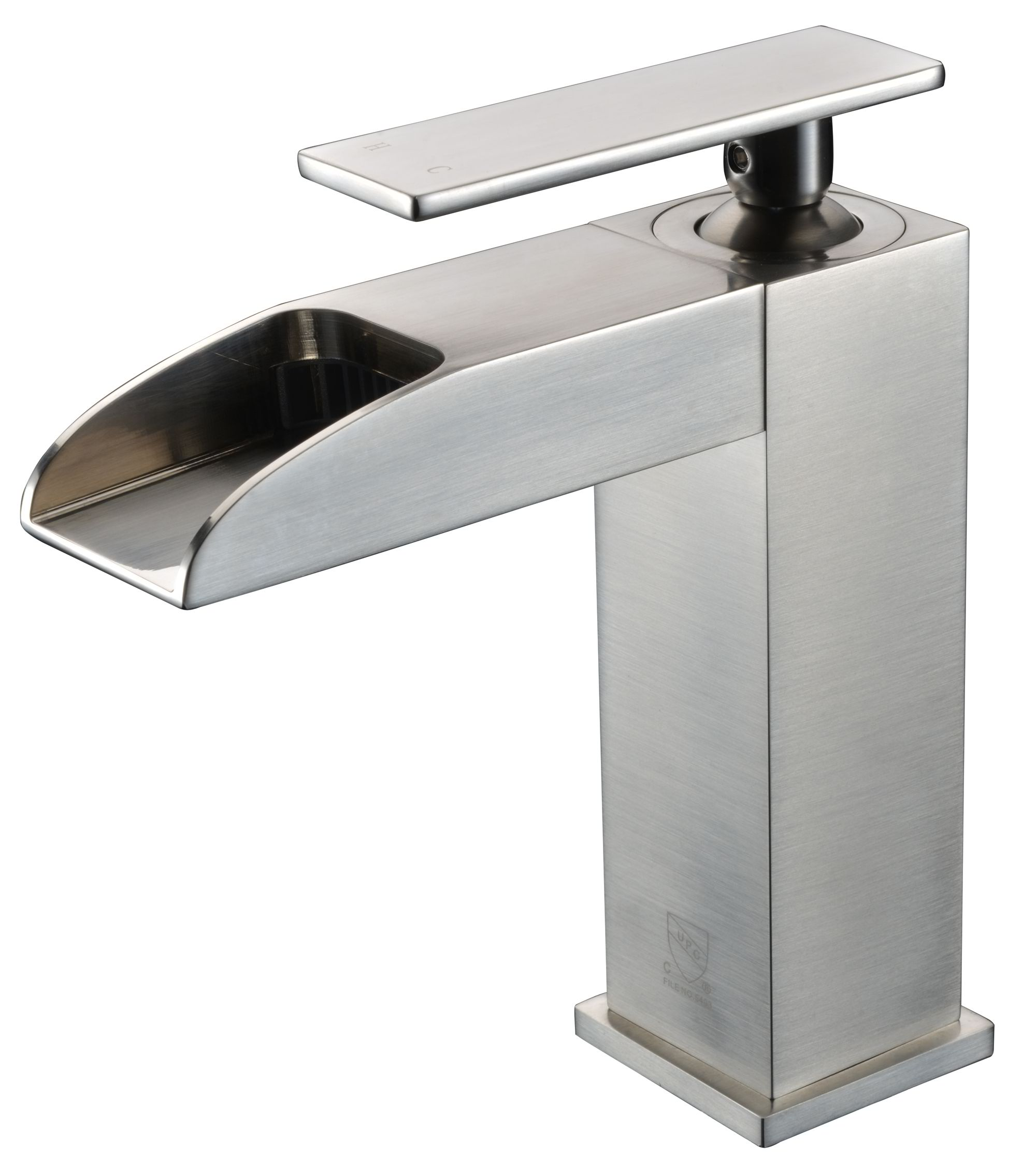 ALFI Brand AB1598 Brushed Nickel or Polished Chrome Single Hole Waterfall Bathroom Faucet