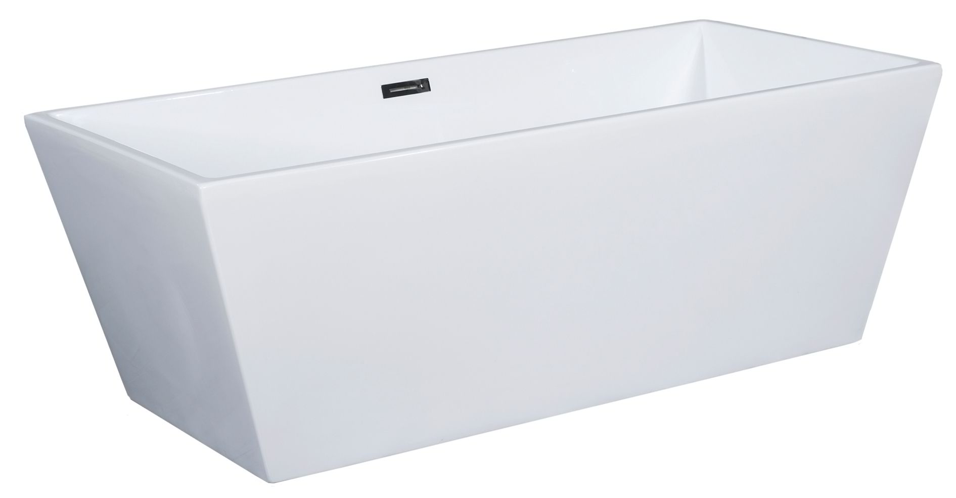 "ALFI Brand AB8833 59"" White Rectangular Acrylic Free Standing Soaking Bathtub"