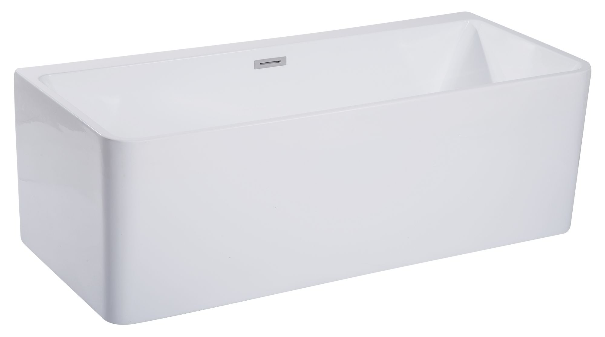 "ALFI Brand AB8859 67""White Rectangular Acrylic Free Standing Soaking Bathtub"