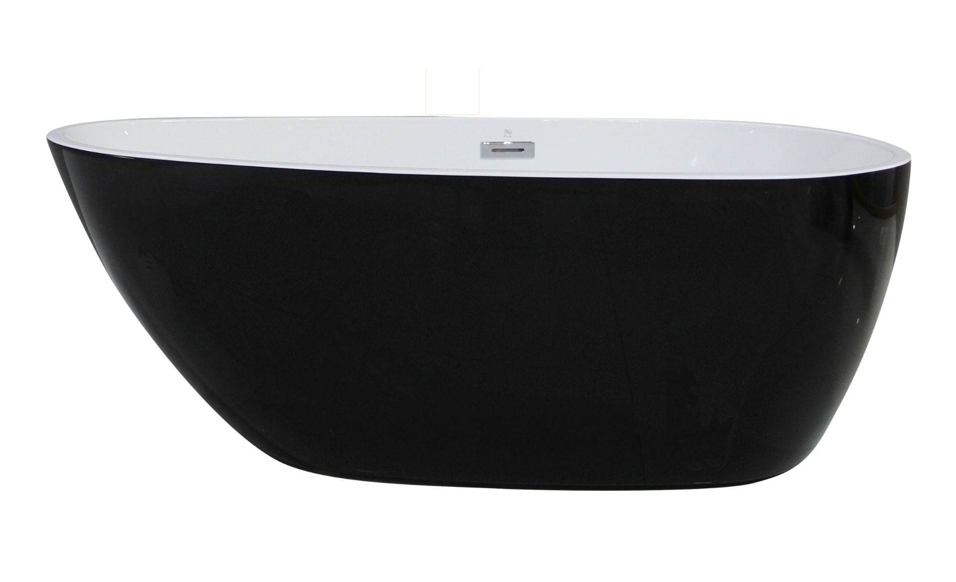 "ALFI Brand AB8862 59"" Black & White Oval Acrylic Free Standing Soaking Bathtub"